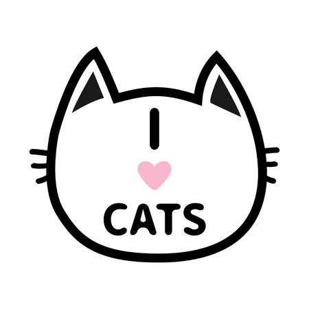 head i: I love cats heart Text lettering. Black cat head face contour silhouette icon. Line pictogram. Cute funny cartoon character. Kitty kitten whisker Baby pet White background. Isolated Flat design Vector Illustration