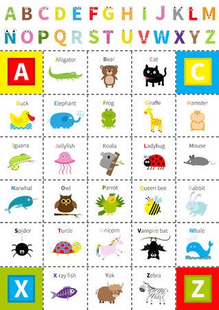 Unicorn fish: Animal zoo alphabet poster. Letters with eyes Cute cartoon character set Isolated White background Baby children education Alligator bear cat duck elephant frog giraffe hamster iguana Flat Vector