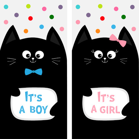 black baby boy: Black cat family couple with bow. Flyer poster set. Cute funny cartoon character. Its a boy girl. Baby shower greeting card. Flat design. White background. Colorful round dots. Vector illustration Illustration