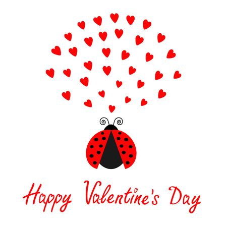 Red flying lady bug insect with hearts. Cute cartoon character. Happy Valentines Day. Love card. White background. Flat design. Vector illustration Illustration