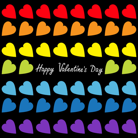 Happy Valentines Day Rainbow Heart Set Seamless Pattern Wrapping