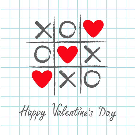 criss cross: Tic tac toe game with criss cross and three red heart sign mark XOXO. Hand drawn pen brush. Doodle line. Happy Valentines day card Flat design. Exercise book background. Paper sheet. Vector
