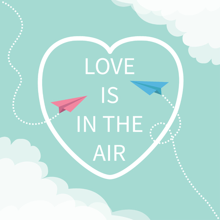 unusual valentine: Love is in the air Lettering text. Flying origami paper plane. Dashed Heart line frame Cloud in corners. Happy Valentines day Greeting card Typographical blue sky background with quote Flat Vector