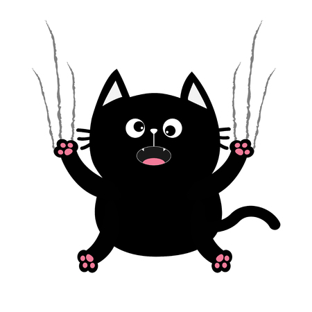 excoriation: Black fat cat nail claw scratch glass. Cute cartoon screaming funny character. Excoriation track line shape. Baby pet collection. White background. Isolated. Flat design. Vector illustration