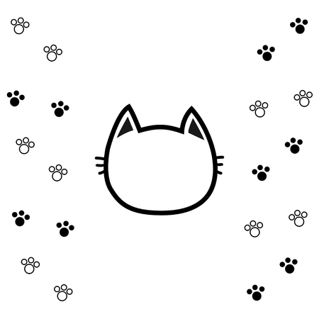 temlate: Black cat head face contour silhouette icon. Line pictogram. Empty temlate. Paw print track. Cute funny cartoon character. Kitty kitten whisker Baby pet. White background Isolated. Flat design. Vector Illustration