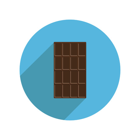 dark chocolate: Round dark chocolate bar icon Long shadow. Tasty sweet food dessert. Rectangle shape Vertical piece. Modern simple style. Flat design. White background. Isolated. Vector