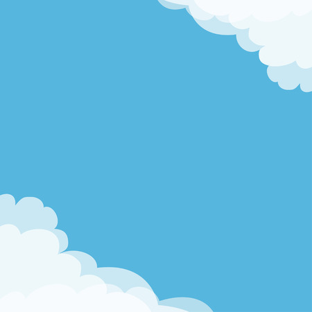Blue sky. Cloud in corners frame template. Cloudy weather. Cloudshape. Flat design. Background. Isolated Vector illustration