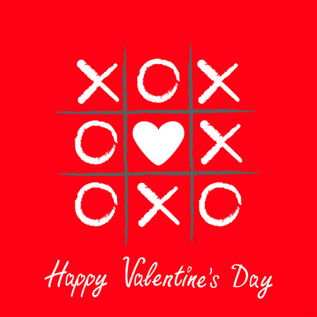 criss cross: Tic tac toe game with criss cross and white heart sign mark XOXO. Hand drawn brush. Doodle line. Happy Valentines day card Flat design Isolated. Red background. Vector illustration