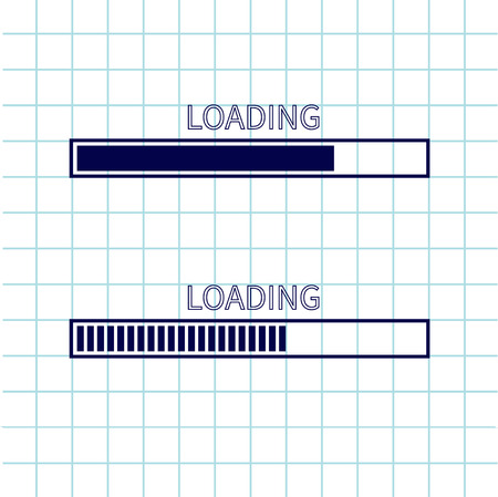 status: Loading progress status bar icon set. Web design app download timer. Notebook paper texture cell Squared blank sheet of copybook white background. Flat trendy element. Vector illustration