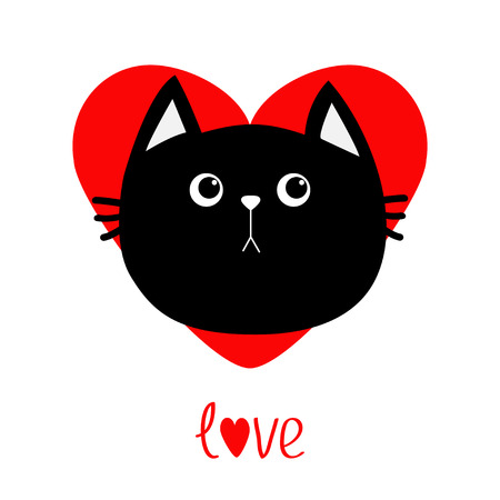Black cat head icon. Red heart. Cute funny cartoon character. Valentines day Love word Greeting card. Sad emotion. Kitty Whisker Baby pet collection. White background. Isolated. Flat design. Vector