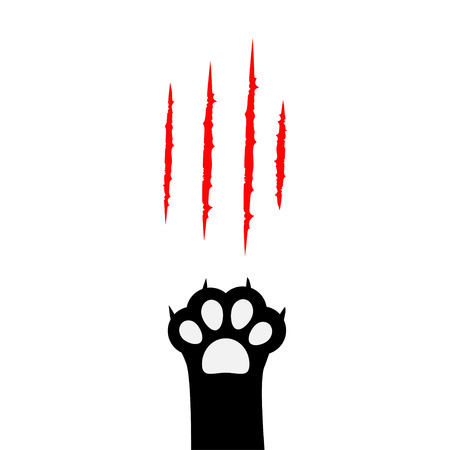 Black cat paw print leg foot. Bloody claws scratching animal red scratch scrape track. Cute cartoon character body part silhouette. Baby pet collection. Flat design. White background. Isolated. Vector Illustration