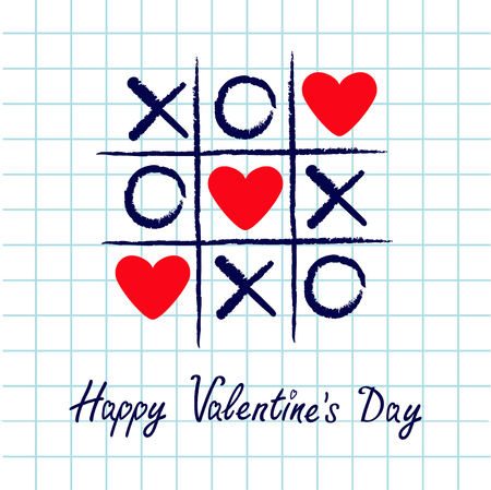 Tic tac toe game with criss cross and three red heart sign mark XOXO. Hand drawn blue pen brush. Doodle line. Happy Valentines day card Flat design. Exercise book background. Paper sheet. Vector