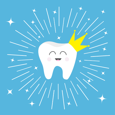 girotondo bambini: Healthy tooth crown icon Smiling face. King queen prince princess Cute cartoon character. Round line circle. Children teeth care. Shining effect stars. Blue background. Flat Vector illustration Vettoriali