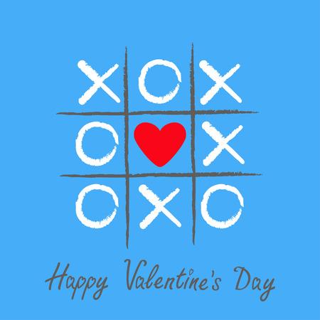 Tic Tac Toe Game met criss cross en rood hartteken mark XOXO. Hand getrokken borstel. Doodle lijn. Happy Valentijnsdag kaart platte ontwerp geïsoleerd. Blauwe achtergrond Vector illustratie