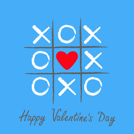 criss cross: Tic tac toe game with criss cross and red heart sign mark XOXO. Hand drawn brush. Doodle line. Happy Valentines day card Flat design Isolated. Blue background. Vector illustration