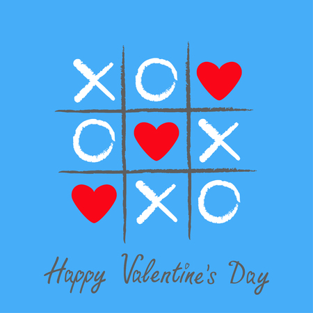 Tic tac toe game with criss cross and three red heart sign mark XOXO. Hand drawn pen brush. Doodle line. Happy Valentines day card Flat design Isolated. Blue. Vector illustration