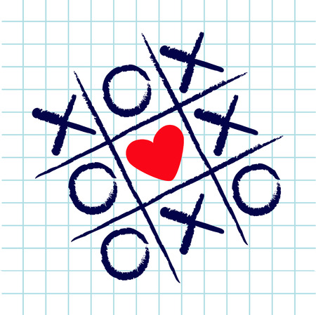 Tic tac toe game with criss cross and red heart sign mark XOXO. Hand drawn blue pen brush. Doodle line. Valentines day Flat design. Exercise book White cell Paper sheet. Vector illustration