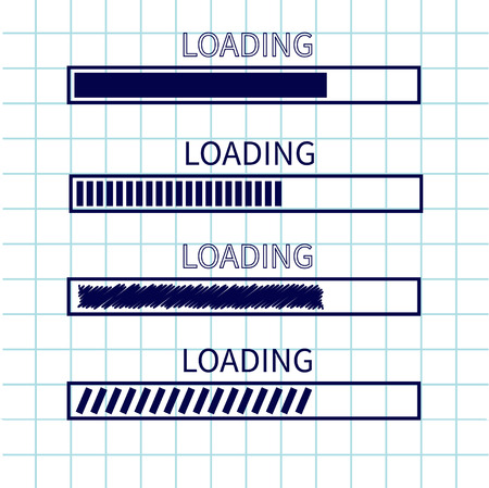 Loading progress status bar icon set. Web design app download timer. Squared blank sheet of copybook . Notebook paper cell texture Flat trendy scribble element. Vector illustration