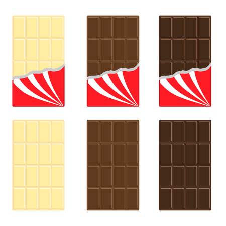 dark chocolate: White, milk and dark chocolate bar icon set in red wrapping paper foil. Illustration