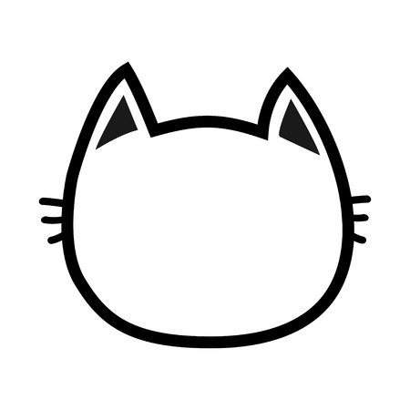Black cat head face contour silhouette icon. Line pictogram. Cute funny cartoon character. Kitty kitten whisker Empty template. Baby pet collection. White background. Isolated. Flat design. Vector