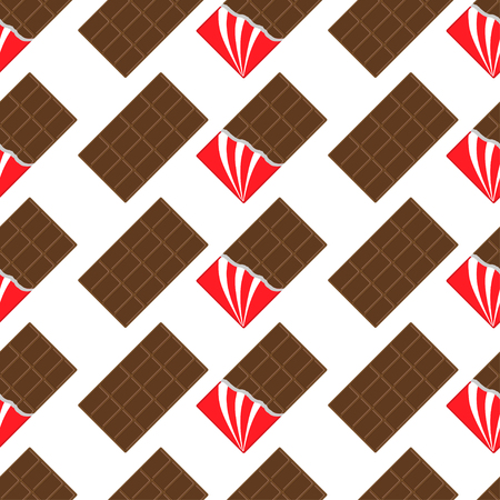 dark chocolate: Milk dark chocolate bar icon. Opened red foil. Modern simple style. Seamless Pattern Wrapping paper, textile template. White background. Flat design. Vector illustration. Illustration