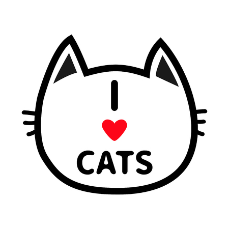 Black cat head face contour silhouette icon. Line pictogram. Cute funny cartoon character. I love cats heart Text lettering. Kitty kitten whisker Baby pet White background. Isolated Flat design Vector