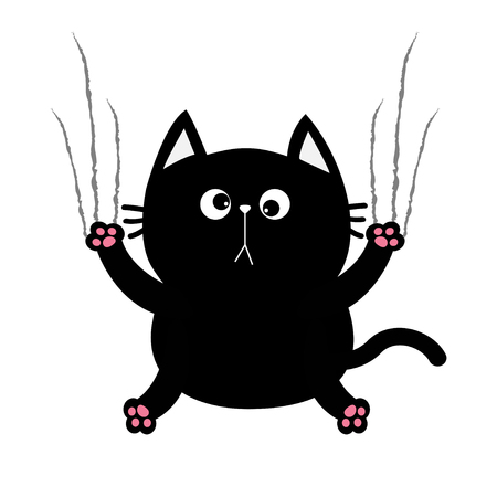 excoriation: Black fat cat nail claw scratch glass. Cute cartoon funny character. Excoriation track line shape. Baby pet collection. White background. Isolated. Flat design. Vector illustration