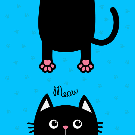 eyes looking down: Black cat Funny face head silhouette. Meow text. Hanging fat body with paw print, tail. Cute cartoon character. Kawaii animal. Baby card. Pet collection. Flat design Blue background. Isolated. Vector