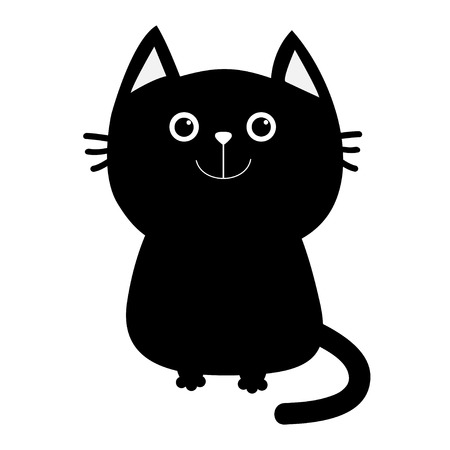 Black cat icon. Cute funny cartoon smiling character. Kawaii animal. Big tail, whisker, eyes. Happy emotion. Kitty kitten Baby pet collection. White background Isolated Flat design Vector illustration