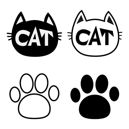 pawprint: Black cat head face contour silhouette icon set. Line pictogram. Empty temlate. Paw print track. Cute funny cartoon character. Kitty kitten whisker Baby pet. White background. Isolated. Flat Vector