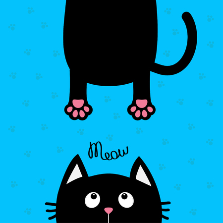 eyes looking down: Black cat looking up. Funny face head silhouette. Meow text. Hanging fat body paw print, tail. Cute cartoon character. Kawaii animal. Baby card. Pet collection. Flat. Blue background. Isolated. Vector