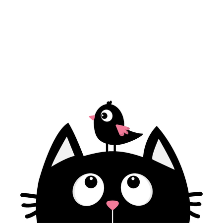 Black cat face head silhouette looking up to bird. Cute cartoon character. Kawaii animal. Baby card. Pet collection. Flat design style. White background. Isolated. Vector illustration