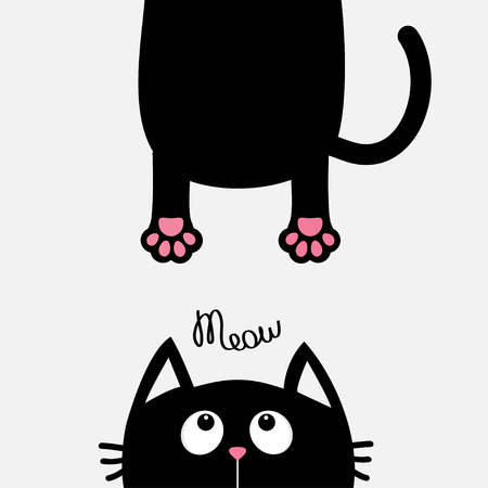 eyes looking down: Black cat looking up. Funny face head silhouette. Meow text. Hanging fat body paw print, tail. Kawaii animal. Baby card. Cute cartoon character. Pet collection. Flat White background. Isolated. Vector