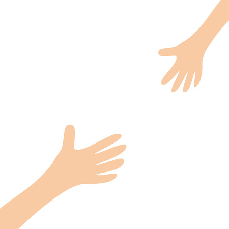 Two hands arms reaching to each other. Mother and baby Helping hand. Close up body part. Happy Valentines day. Flat design. White background. Isolated. Vector illustration