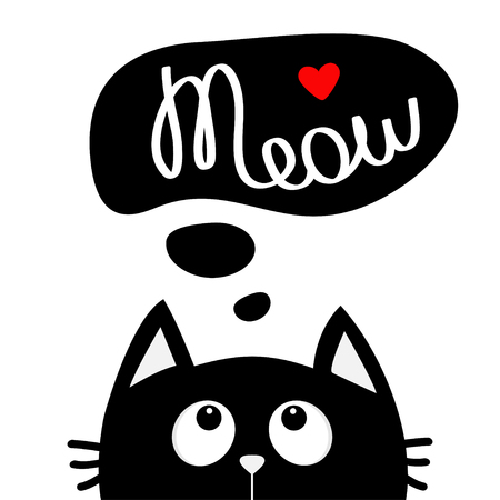 Black cat looking up to meow lettering text. Think talk speech bubble. Red heart. Cute cartoon character. Kawaii animal. Love Greeting card. Flat design style. White background. Isolated. Vector Ilustração