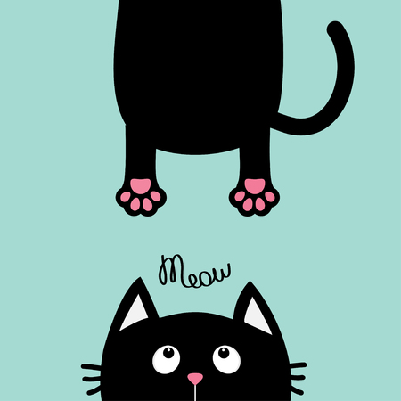 eyes looking down: Black cat looking up. Funny face head silhouette. Meow text. Hanging fat body paw print, tail. Kawaii animal. Baby card. Cute cartoon character. Pet collection. Flat. Blue background. Isolated. Vector Illustration