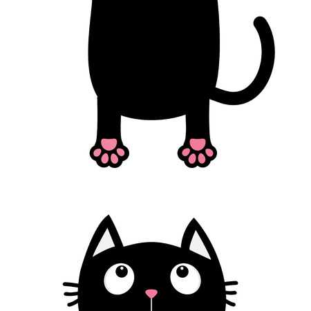 eyes looking down: Black cat looking up. Funny face head silhouette. Hanging fat body paw print, tail. Kawaii animal. Baby card. Cute cartoon character. Pet collection. Flat White background. Isolated. Vector