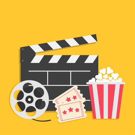 Big movie reel Open clapper board Popcorn box package Ticket Admit one. Three star. Cinema icon set. Yellow background. Flat design style. Vector illustration