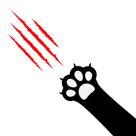 Black cat paw print leg foot. Bloody claws scratching animal red scratch scrape track. Diagonal corner. Cute cartoon character body part silhouette. Baby pet collection. Flat White background. Vector