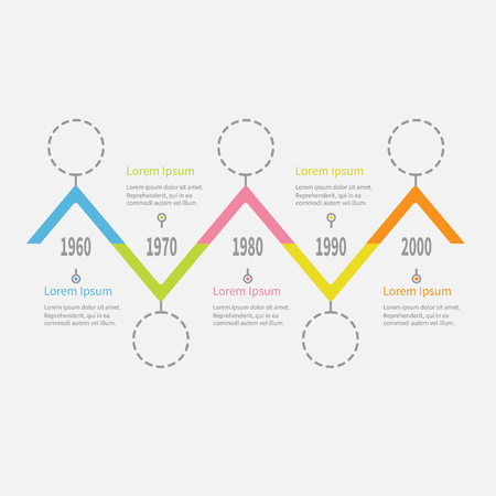 Five step Timeline Infographic. Dash line round circle. Colorful triangle corner segment. Template. Flat design. White background. Isolated. Vector illustration