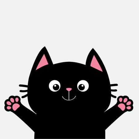 Black cat ready for a hugging. Open hand pink paw print. Kitty reaching for a hug. Funny Kawaii animal. 矢量图片