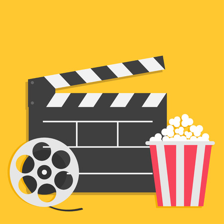 Big open clapper board Movie reel Popcorn Cinema icon set. Flat design style. Yellow background. Vector illustration Illustration