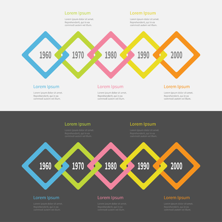 big five: Five step Timeline Infographic set. Colorful big rhombus square segment. Template. Flat design. Black White background. Isolated. Vector illustration Illustration
