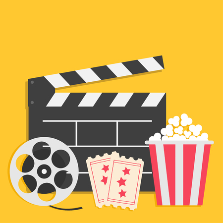 Big movie reel Open clapper board Popcorn box package Ticket Admit one. Three star. Cinema icon set. Flat design style. Yellow background. Vector illustration