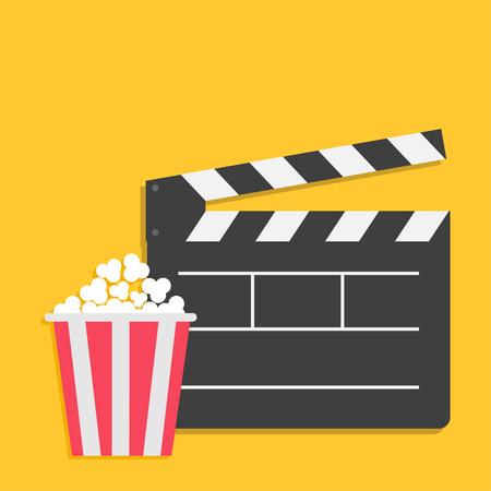 Big open clapper board Popcorn Cinema Movie icon sign symbol set. Red white lined box. Flat design style. Yellow background. Vector illustration Illustration