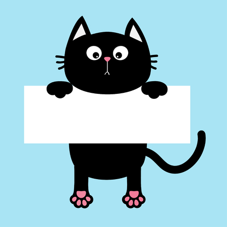 Black funny cat hanging on paper board template. Illustration