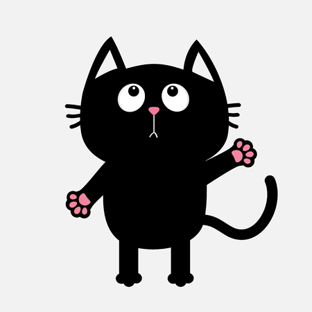 Zwarte kat die omhoog klaar voor het koesteren kijkt. Open handpoot. Wapperende kat reikt naar een knuffel. Grappig Kawaii dier. Baby kaart. Leuke stripfiguur. Dierencollectie. Platte witte achtergrond geïsoleerd. Vector