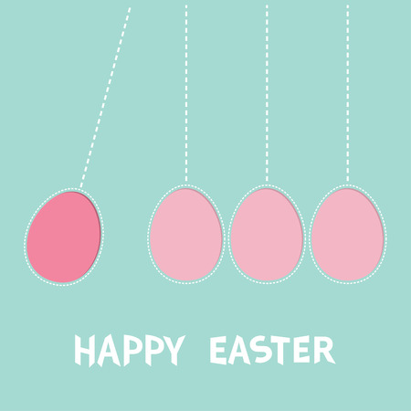 dash: Happy Easter text. Hanging pink painting egg set. Dash line. Perpetual motion mobile. Greeting card. Flat design style. Cute decoration element. Vector illustration. Illustration