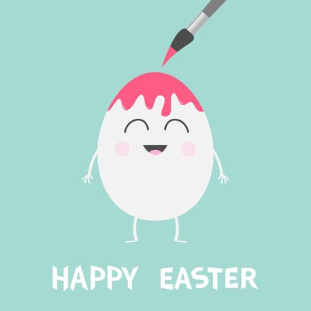 Happy Easter. Egg with painting brush. Smiling face. Paintbrush with paint drop. Cute cartoon character set. Friends forever Greeting card Flat design Blue background. Vector illustration.