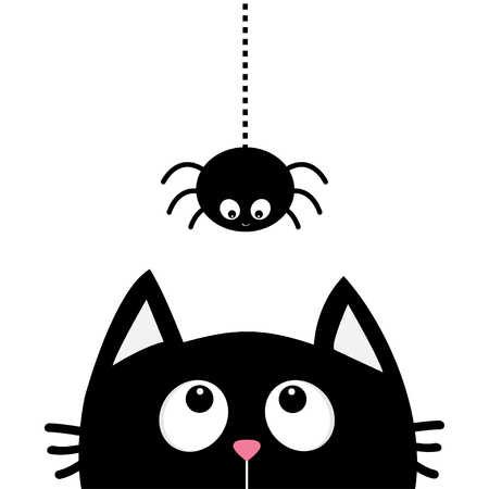 Black cat face head silhouette looking up to hanging on dash line web sprider insect. Cute cartoon character. Ilustração